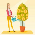 Caucasian businesswoman watering money tree. Young business woman investing money in business project. Illustration of investment money in business. Vector flat design illustration. Square layout.